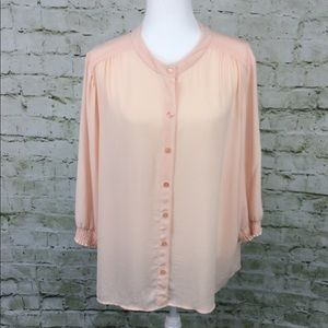Chico's button down 3/4 sleeve crew neck Blouse